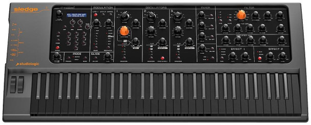 Studiologic Sledge 2.0 Black 61-key Virtual-analog Synthesizer, with Fatar TP-9 Keybed, Full Hands-on Controls, Waldorf PPG Synth Engine, Sampling, and Onboard Effects - Black