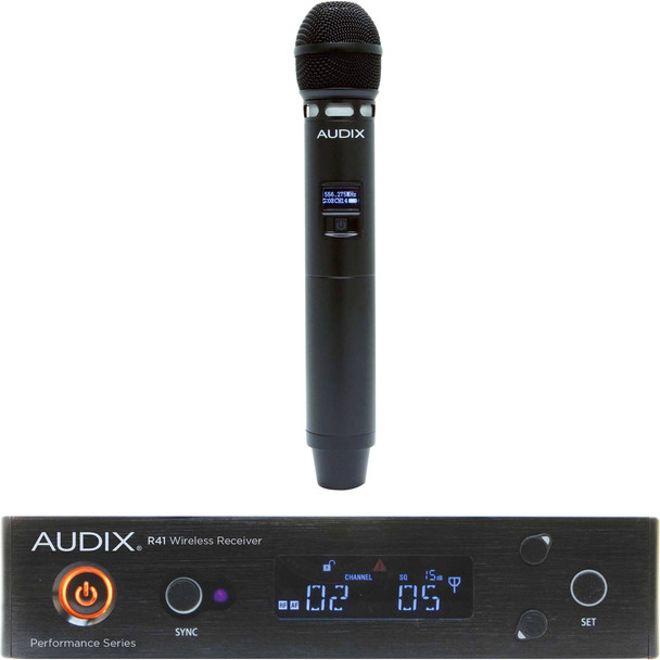 Audix AP41 VX5 Handheld Wireless Microphone System - A Band 40 Series Wireless System with VX5 Handheld Microphone with H60 Transmitter, and R41 Receiver - A Band (522-554MHz)