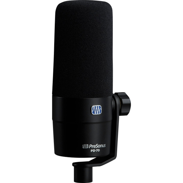 PreSonus PD-70 Dynamic Cardioid Broadcast Microphone Dynamic Vocal Microphone with Integrated Hardmount and Windscreen