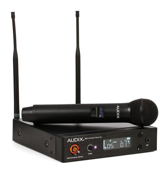 Audix AP41 OM2 Handheld Wireless Microphone System - A Band 40 Series Wireless System with OM2 Handheld Microphone with H60 Transmitter, and R41 Receiver - A Band (522-554MHz)