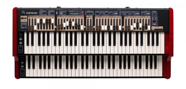 Nord C2D Dual Manual Combo Organ 61-key Dual Manual Combo Organ with 2 Sets of Physical Drawbars Per Manual; Tonewheel, Vox, and Farfisa Models; and Sampled Baroque Pipe Organ