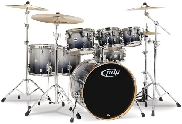 PDP Concept Maple Shell Pack - 7-Piece - Silver To Black Sparkle Fade