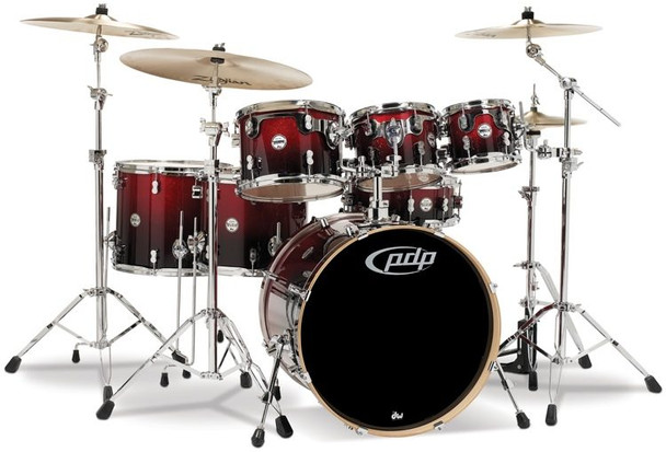 PDP Concept Maple Shell Pack - 7-Piece - Red To Black Sparkle Fade
