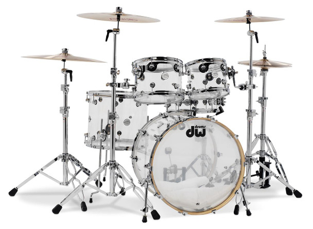 "DW Design Series 5-piece Shell Pack - Clear Acrylic 5-piece Shell Pack with 10"" and 12"" Rack Toms, 16"" Floor Tom, 14"" Snare Drum, and 22"" Kick - Clear Acrylic"