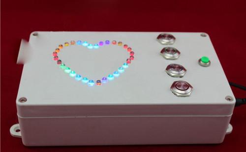4-Button Heart-Shaped RGB Light Box - Escape Room Prop