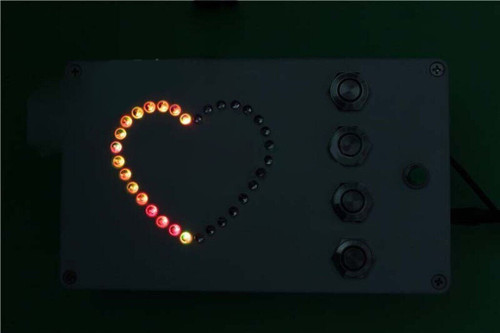 4-Button Heart-Shaped RGB Light Box - Escape Room Prop