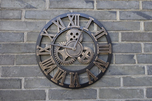 Large 3D Handmade Vintage Rustic Wall Clock - Escape Room Prop