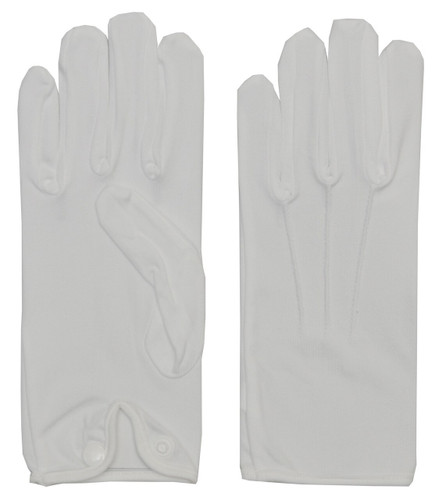 GLOVES MEN NYLON W SNAP WHITE