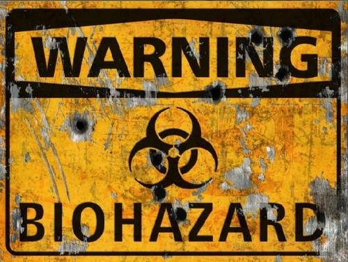 Warning Biohazard Sign - Halloween Decor Prop Road and Lawn Decoration Sticker