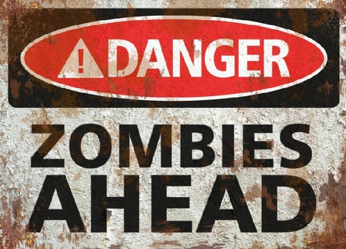 Zombies Ahead Sign - Halloween Decor Prop Road and Lawn Decoration Sticker