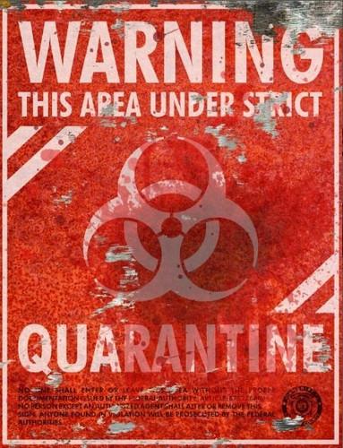 Warning Quarantine Sign - Halloween Decor Prop Road and Lawn Decoration Sticker