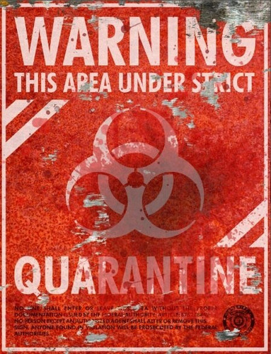 Warning Quarantine Sign - Halloween Decor Prop Road and Lawn Decoration Sticker