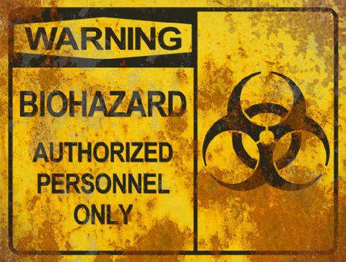 Warning Biohazard Authorized Sign - Halloween Decor Prop Road and Lawn Decoration Sticker