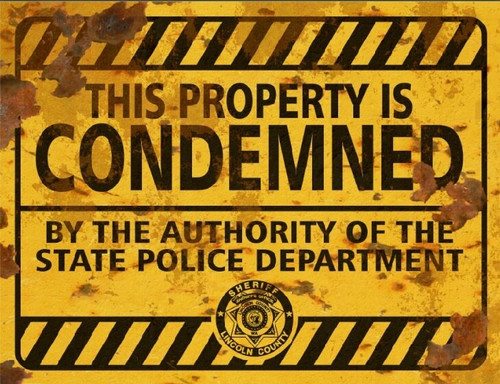 Property Condemned Sign - Halloween Decor Prop Road and Lawn Decoration Sticker