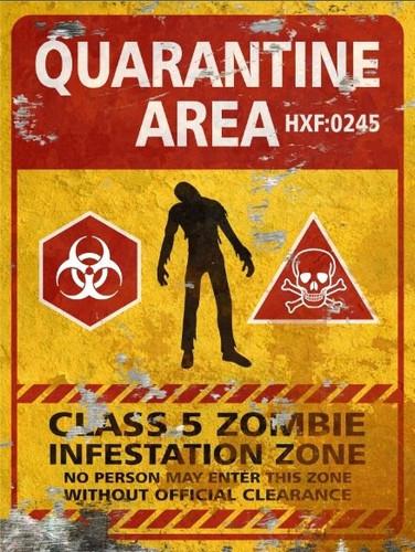 Quarantine Area Sign - Halloween Decor Prop Road and Lawn Decoration Sticker