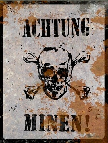 Achtung Minen Sign - Halloween Decor Prop Road and Lawn Decoration Sticker