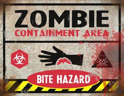 Bite Hazard Sign - Halloween Decor Prop Road and Lawn Decoration Sticker