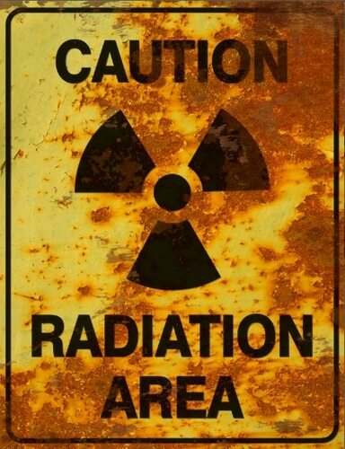 Caution Radiation Area Sign - Halloween Decor Prop Road and Lawn Decoration Sticker