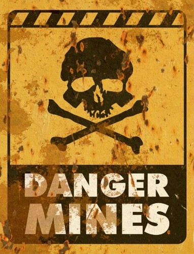 Danger Mines Signs - Halloween Decor Prop Road and Lawn Decoration Sticker
