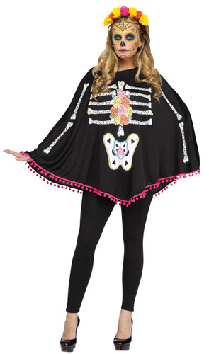 PONCHO DAY OF DEAD AD ONE SIZE