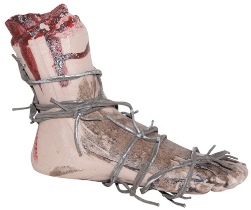 BLOODY FOOT W/BARBED WIRE