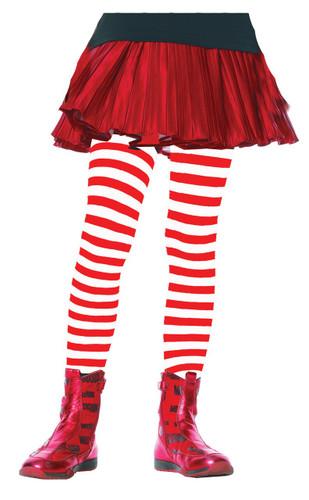 TIGHTS CHILD STRIPED WT/RD 4-6