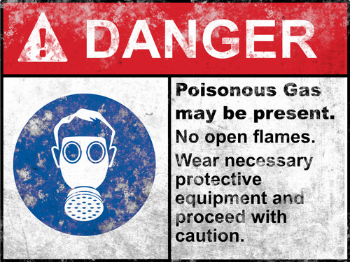 Danger Poisonous Gas Sign - Halloween Decor Prop Road and Lawn Decoration Sticker