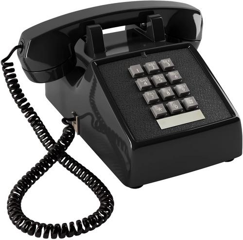 Black Olde Phone 1980's Push Button Escape Room Telephone Prop