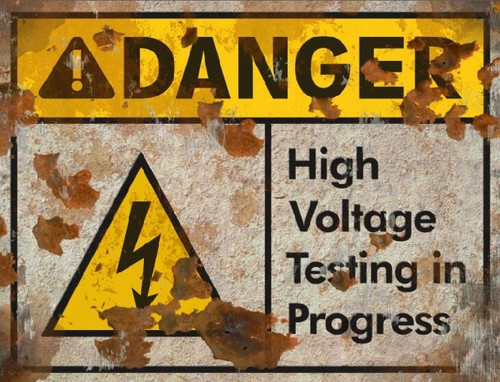 Danger High Voltage THICK Sign - Halloween Decor Prop Road and Lawn Decoration