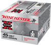 Combo Pack (FMJ/HP) Winchester Ammunition - 45 Auto - 185 Grain Full Metal Jacket - 100 Rounds - Winchester - 45 Auto - 185 Grain Silver Tip Hollow Point - 20 Rounds
