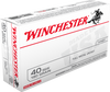 Winchester Ammunition - 40 S&W - 180 Grain Full Metal Jacket - 100 Rounds - Brass Case