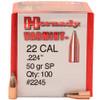 "Hornady Bullets - .224"" (22 Cal) - 50 Grain Soft Point - 100 Projectiles"
