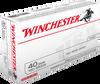 Winchester USA Ammunition - 40 S&W - 180 Grain Full Metal Jacket - 50 Rounds - Brass Case