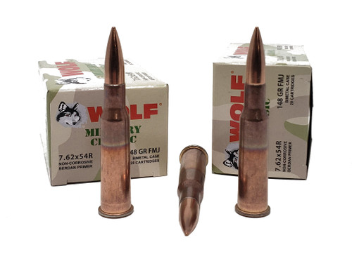 Wolf Military Classic Ammunition - 7.62x54R - 148 Grain Full Metal Jacket - 200 Rounds W/ Free Ammo Can