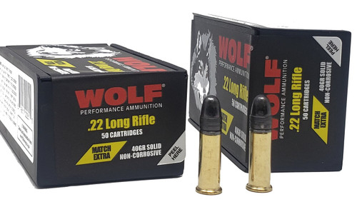 Wolf Performance Ammunition - 22 Long Rifle Extra Match - 40 Grain Lead Round Nose - 500 Rounds W/ Free Ammo Can