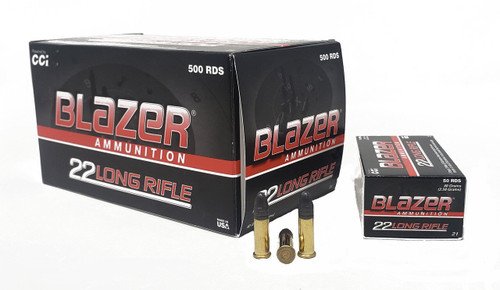 CCI Blazer Ammunition - 22 Long Rifle - 40 Grain Lead Round Nose - 500 Rounds W/ Free Ammo Can