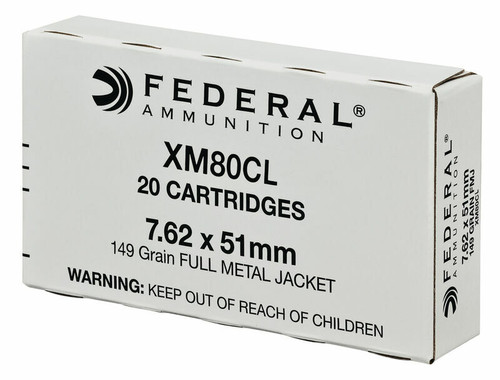 Federal  7.62x51 NATO - 149 Grain Full Metal Jacket - 100 Rounds - Brass Case