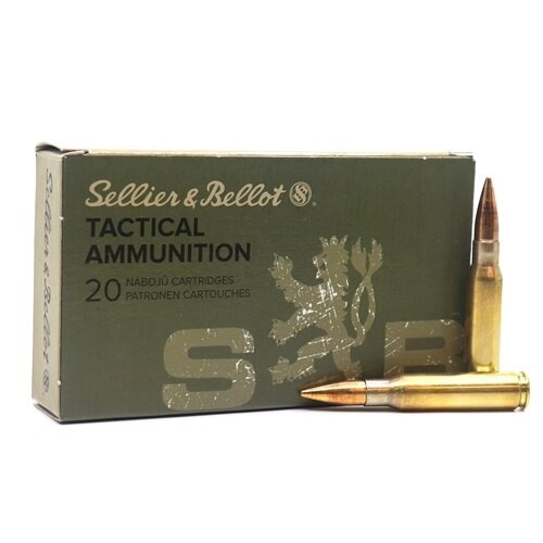 Sellier & Bellot - 7.62x51mm NATO - 147 Grain Full Metal Jacket - 100 Rounds - Brass Case