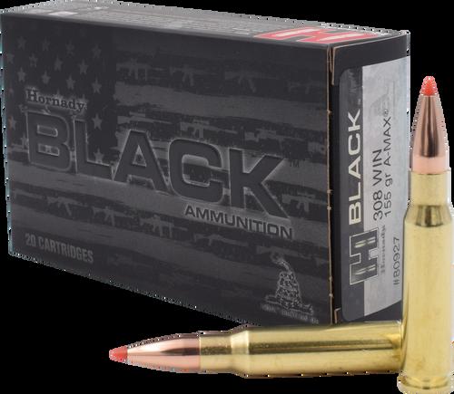 Hornady Black Ammunition - 308 Winchester - 155 Grain A-MAX - 100 Rounds