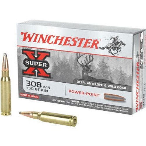 Winchester Super-X Ammunition - 308 Winchester - 150 Grain Power Point - 100 Rounds