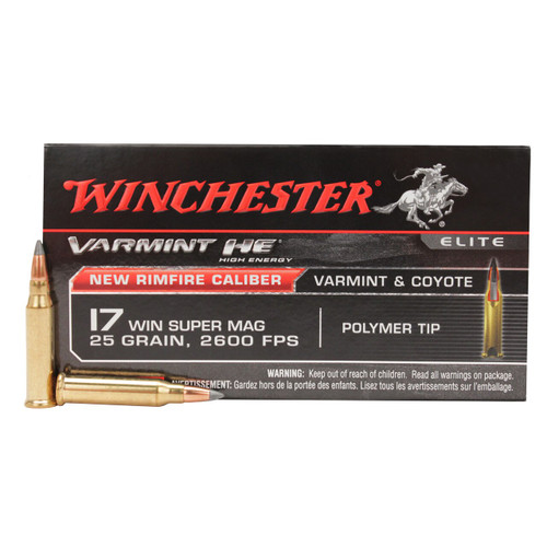 Winchester Varmint Ammunition - 17 WIN Super Magnum - 25 Grain Polymer Tip - 100 Rounds W/ Free Ammo Can