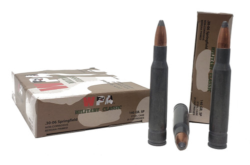 Wolf Military Classic Ammunition - 30-06 Springfield - 140 Grain Soft Point - 100 Rounds W/ Free Ammo Can