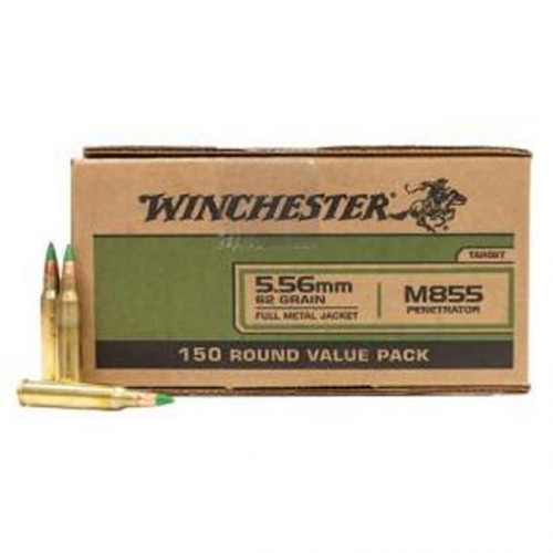 Winchester Lake City Ammunition - 5.56x45 MM - 62 Grain M855 Full Metal Jacket - 600 Rounds - Brass Case