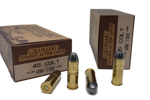 Magtech Cowboy Action Loads - 45 Long Colt - 250 Grain Lead Flat Nose - 50 Rounds W/ Free Ammo Can - Brass Case