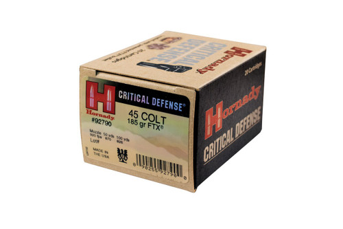 Hornady Critical Defense Ammunition - 45 Long Colt 185 Grain FTX - 20 Rounds W/ Free Ammo Can