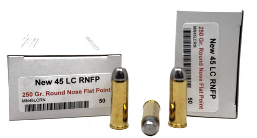 Miwall New Ammunition - 45 Long Colt - 250 Grain Lead Round Nose Flat Point - 50 Rounds W/ Free Ammo Can