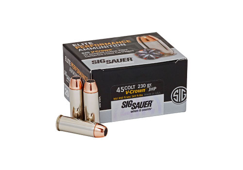 Sig Sauer Elite Performance Ammunition - 45 Long Colt - 230 Grain V-Crown Hollow Point - 20 Rounds W/ Free Ammo Can