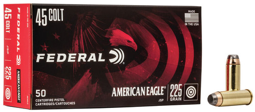 Federal American Eagle Ammunition - 45 Long Colt - 225 Grain Jacketed Soft Point - 50 Rounds W/ Free Ammo Can