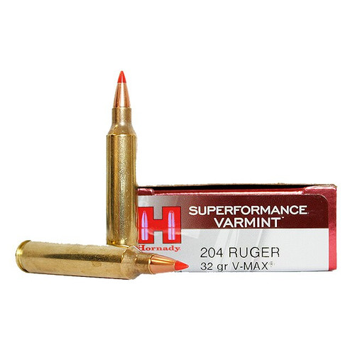 Hornady Superformance Ammunition - 204 Ruger - 32 Grain V-Max - 100 Rounds W/ Free Ammo Can