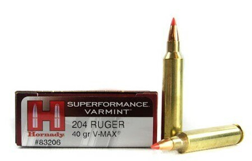 Hornady Superformance Ammunition - 204 Ruger - 40 Grain V-Max - 100 Rounds W/ Free Ammo Can